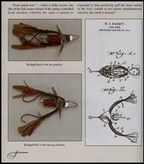 Spring-loaded fish lure in set and sprung positions.